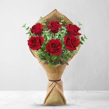 Image of 6 Long Stem Premium Rose Bouquet Flowers